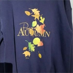 Vintage Tops - Vintage Autumn Blue Leaves Sweatshirt Size L Fall